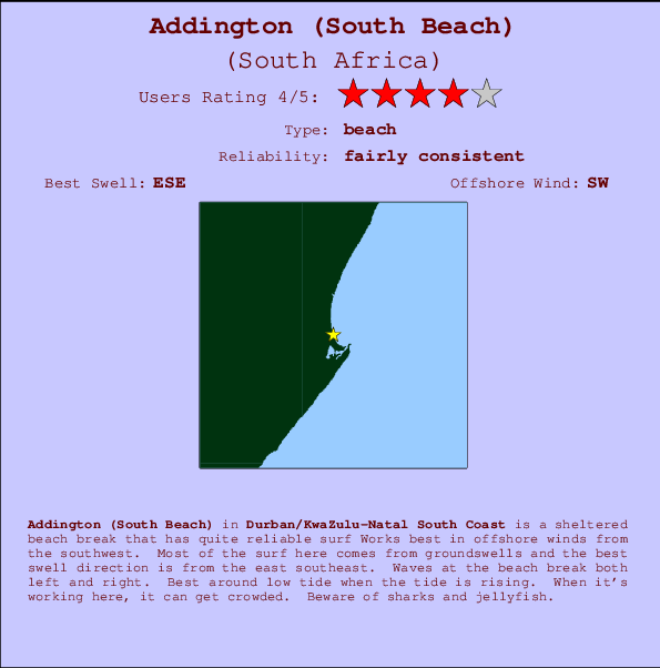 Addington (South Beach) Locatiekaart en surfstrandinformatie
