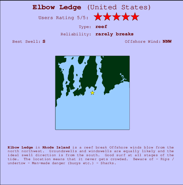 Elbow Ledge Locatiekaart en surfstrandinformatie