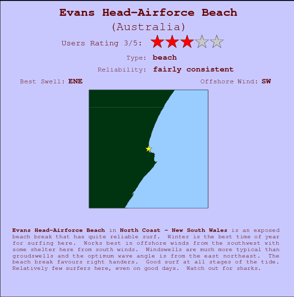 Evans Head-Airforce Beach Locatiekaart en surfstrandinformatie