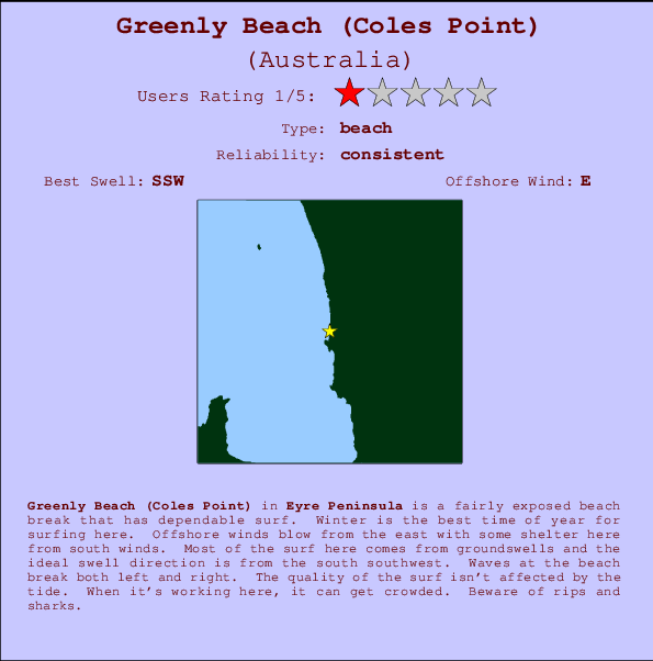 Greenly Beach (Coles Point) Locatiekaart en surfstrandinformatie