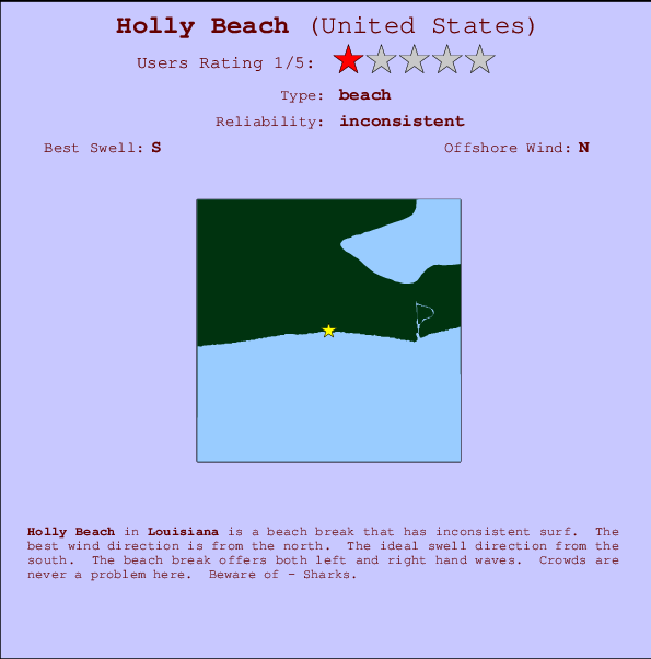 Holly Beach Locatiekaart en surfstrandinformatie