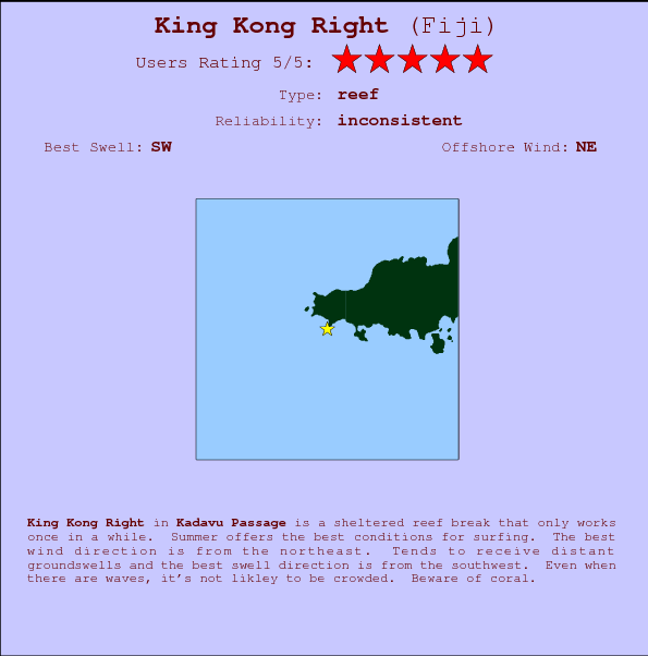 King Kong Right Locatiekaart en surfstrandinformatie