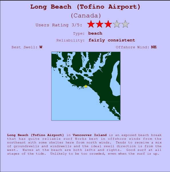 Long Beach (Tofino Airport) Locatiekaart en surfstrandinformatie