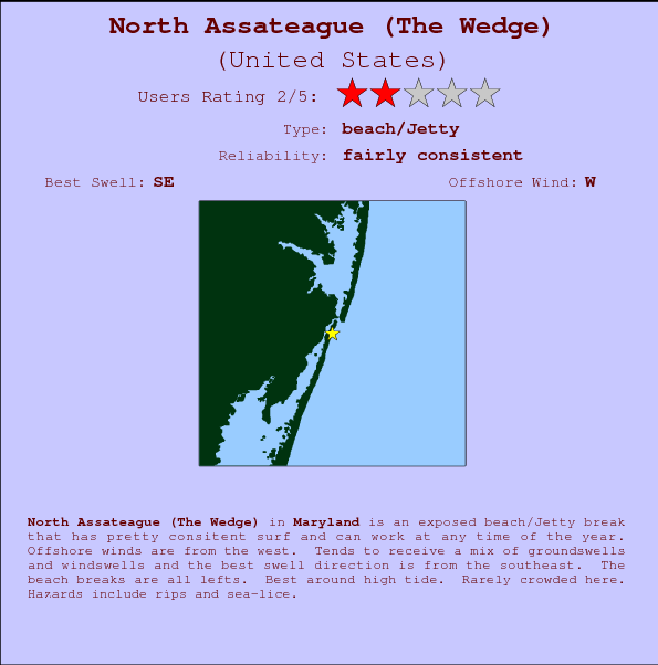 North Assateague (The Wedge) Locatiekaart en surfstrandinformatie