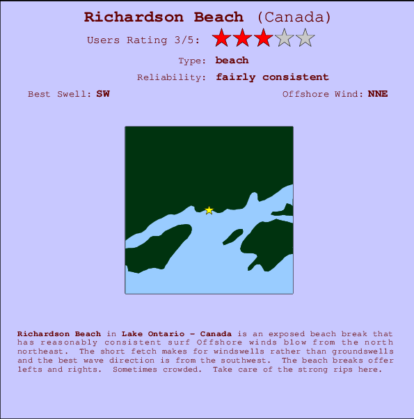 Richardson Beach Locatiekaart en surfstrandinformatie