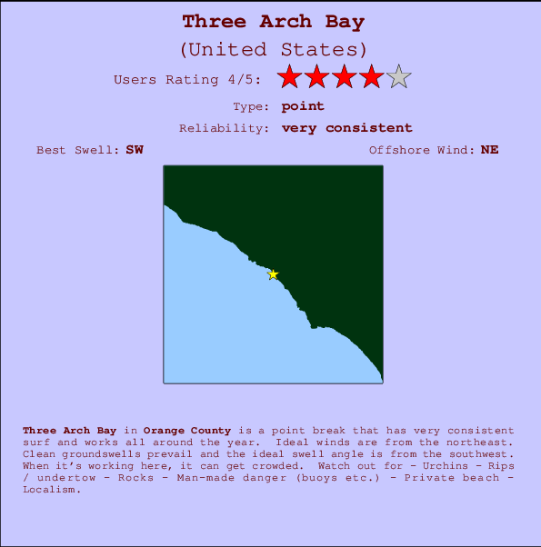 Three Arch Bay Locatiekaart en surfstrandinformatie