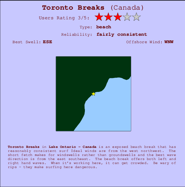 Toronto Breaks Locatiekaart en surfstrandinformatie