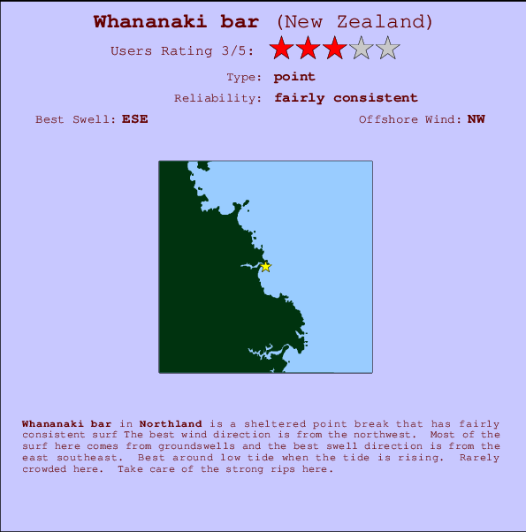 Whananaki bar Locatiekaart en surfstrandinformatie