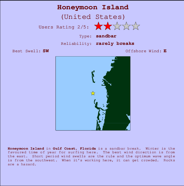 Honeymoon Island Locatiekaart en surfstrandinformatie