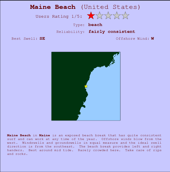Maine Beach Locatiekaart en surfstrandinformatie