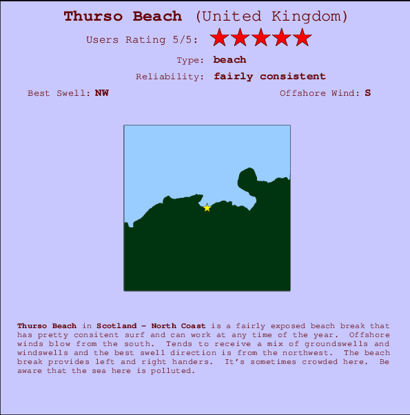 Thurso Beach Locatiekaart en surfstrandinformatie
