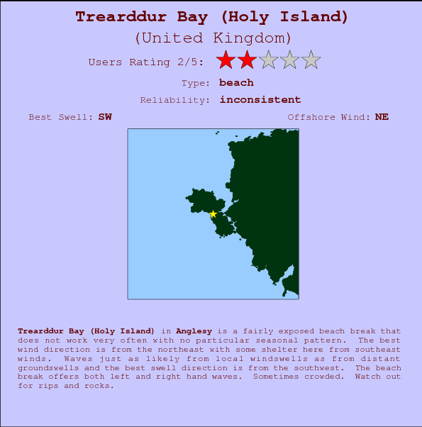Trearddur Bay (Holy Island) Locatiekaart en surfstrandinformatie