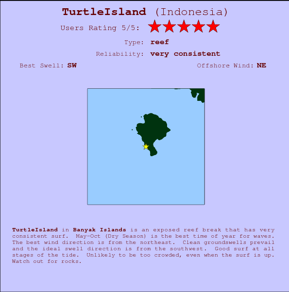 TurtleIsland Locatiekaart en surfstrandinformatie
