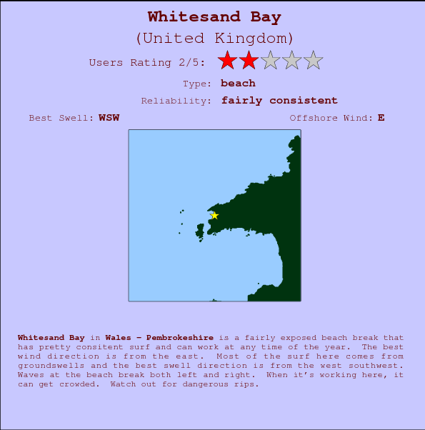 Whitesand Bay Locatiekaart en surfstrandinformatie